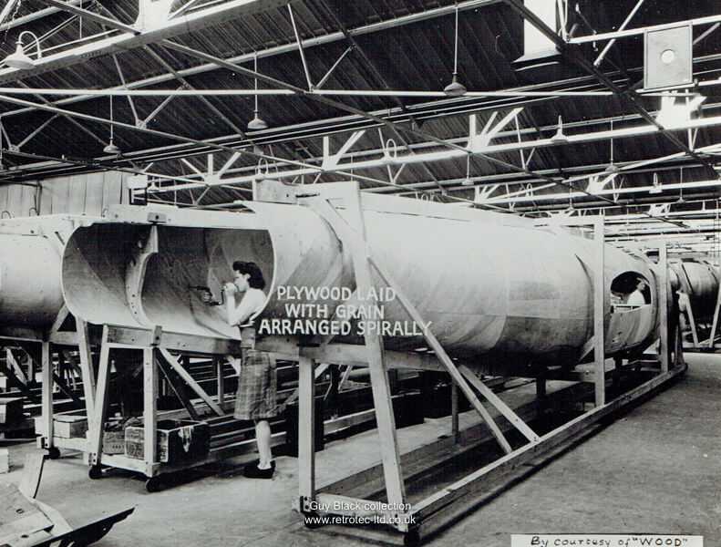 Production line of Mosquito fuselages.